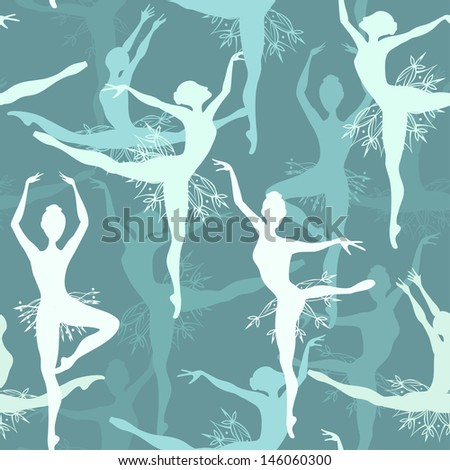 Seamless background of fancy snowflake ballet dancers - stock vector