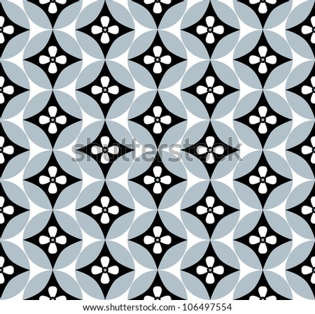 Seamless background of flowers and geometric shapes - stock vector