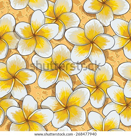 Seamless background of flowers frangipani. (plumeria) Vector illustration. Tropical flower plumeria hand drawing on the sand. - stock vector