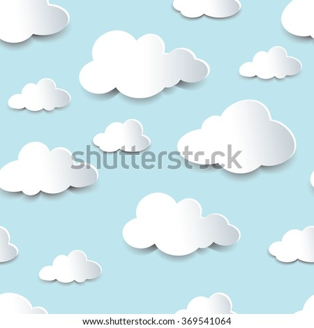 Seamless background of fluffy clouds, paper cutout with shadow effect. EPS10 vector format. - stock vector