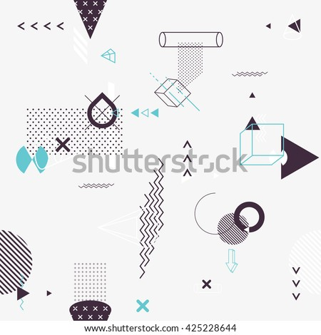 Seamless background of geometric elements - stock vector