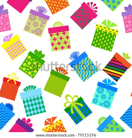 seamless background of gift boxes  with different  pattern - stock vector
