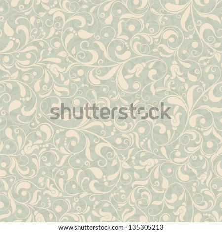 Seamless background of green and beige color in the style of Damascus