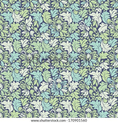 Seamless background of green and blue color in the victorian style  - stock vector