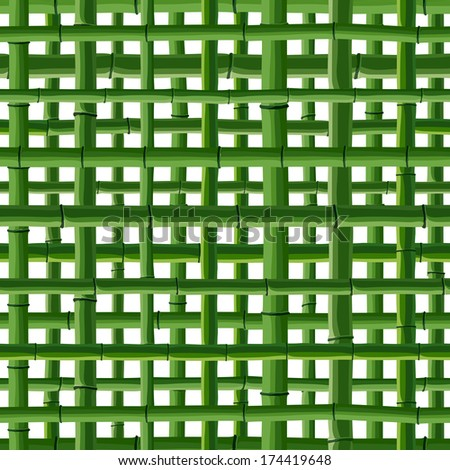 Seamless background of green bamboo square grid on white. - stock vector