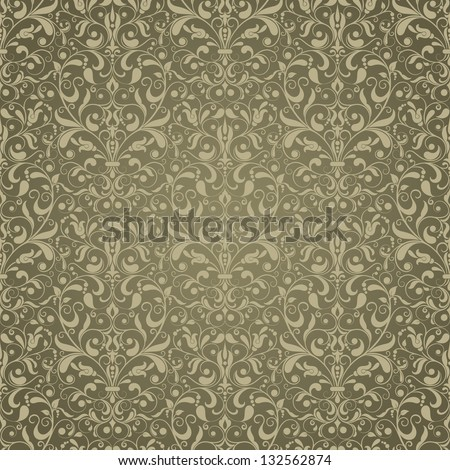 Seamless background of green color in the style of Damascus - stock vector