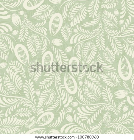 Seamless background of green in the folk style - stock vector