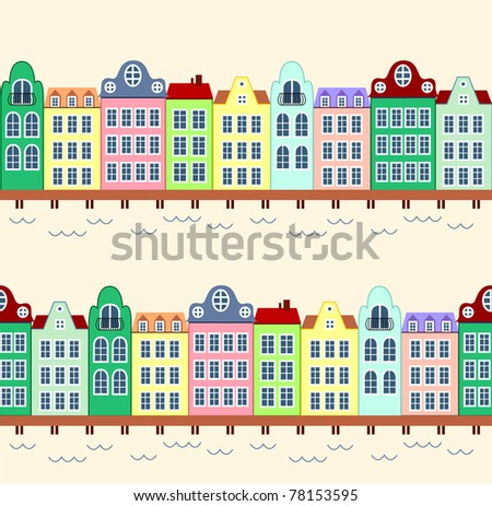 Seamless background of houses with in frond of water - stock vector