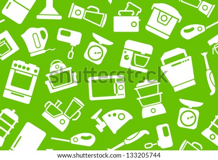 Seamless background of kitchen home appliances - stock vector