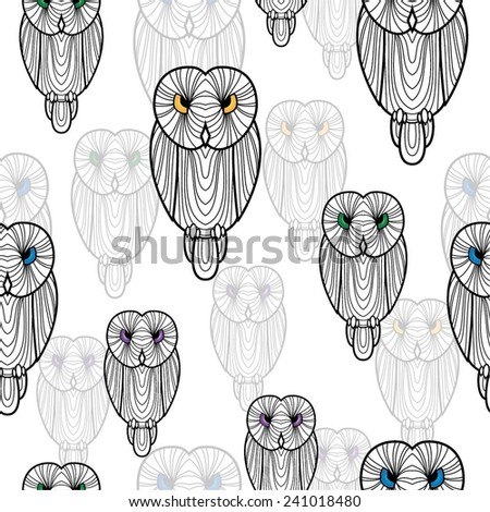 Seamless background of owls. - stock vector