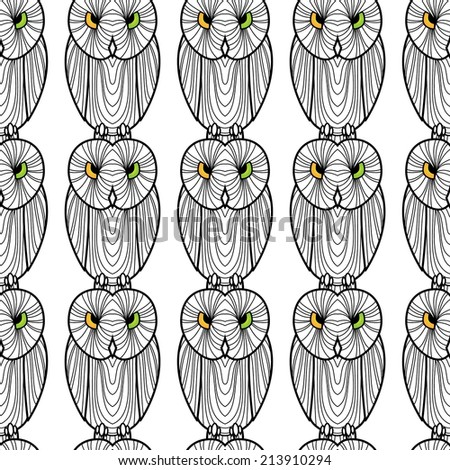 Seamless background of owls.Simple design. The owls colored eyes - stock vector