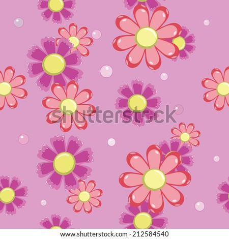 seamless background of pink and red flowers vector - stock vector
