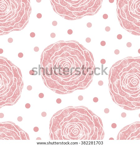 Seamless background of pink roses and circles