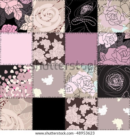 seamless background of quilt with roses - stock vector