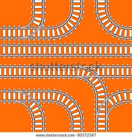 Seamless background of railway tracks - stock vector