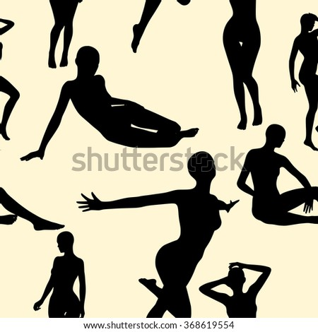 Seamless background of silhouettes of women. - stock vector
