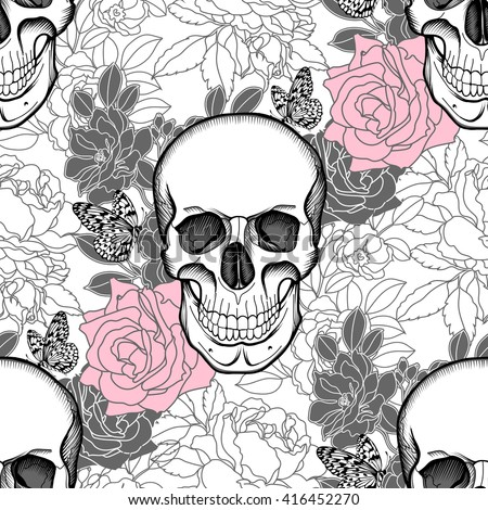 Seamless background of Skull and flowers. Day of The Dead. Vintage Vector. - stock vector