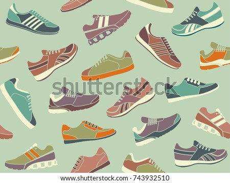 Seamless background of sports shoes in retro style
