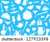 Seamless background of tableware - stock vector