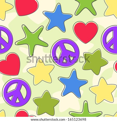 Seamless background of the figures of stars, pacifist, heart bright colors with retreating outline.