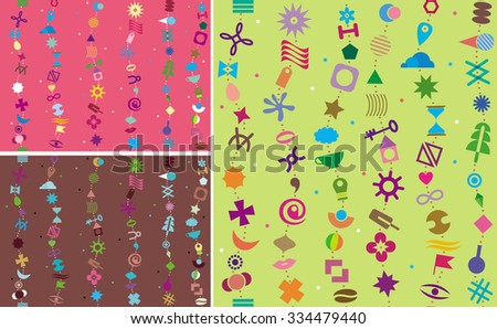 Seamless background of various geometric elements. Variations in color and location. - stock vector