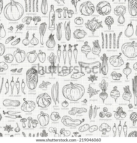 Seamless background of vegetables and spices, hand-drawn illustration in vintage style. - stock vector