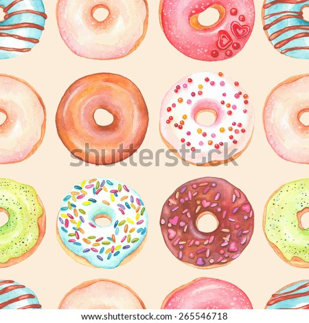 Seamless background of watercolor colorful donuts glazed. - stock vector