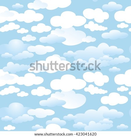 Seamless background of white clouds on a blue sky.