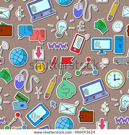 Seamless background on a theme business on the Internet and information technology , the colored icons on brown background