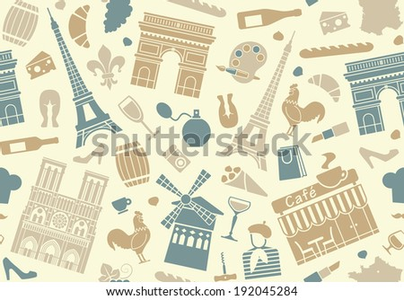 Seamless background on a theme of France - stock vector
