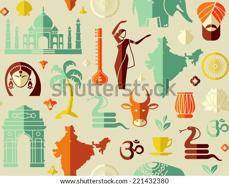 Seamless background on a theme of India - stock vector