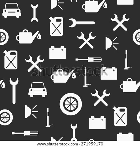 Seamless background on car repair theme for your design - stock vector