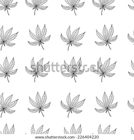 Seamless background outline of the leaves of marijuana. Vector texture for design. - stock vector
