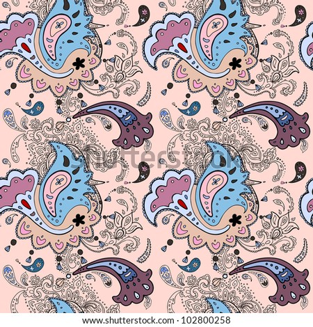 Seamless background. Paisley ornament. Textile vector pattern - stock vector