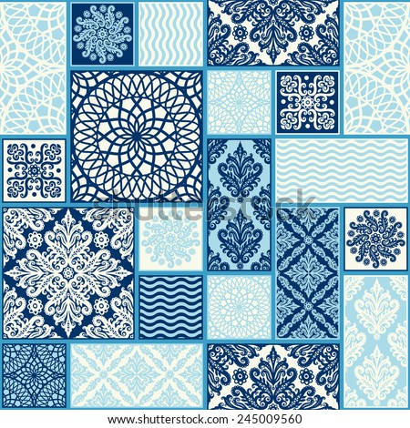 seamless background, patchwork tiles.  - stock vector