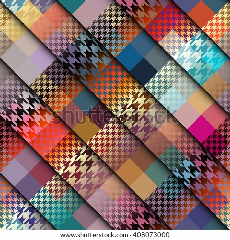 Seamless background pattern. Abstract diagonal plaid pattern. Plaid of a Hounds-tooth patterns. - stock vector