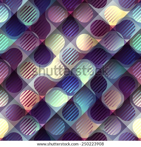 Seamless background pattern. Abstract geometric purple pattern with joined elements. - stock vector