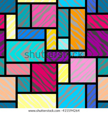 Seamless background pattern. Abstract rectangles geometric pattern. - stock vector