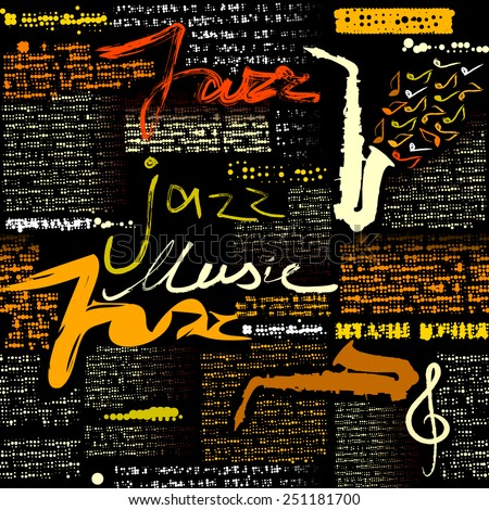 Seamless background pattern. Black newspaper Jazz music. Text is unreadable. - stock vector