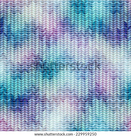 Seamless background pattern. Blue knitted texture with chevrons pattern - stock vector