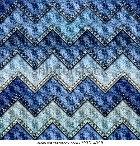 Seamless background pattern. Chevron patchwork of denim fabric. - stock vector