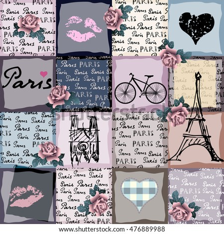 Seamless background pattern. Collage in retro scrapbook style with original inscriptions word of Paris.