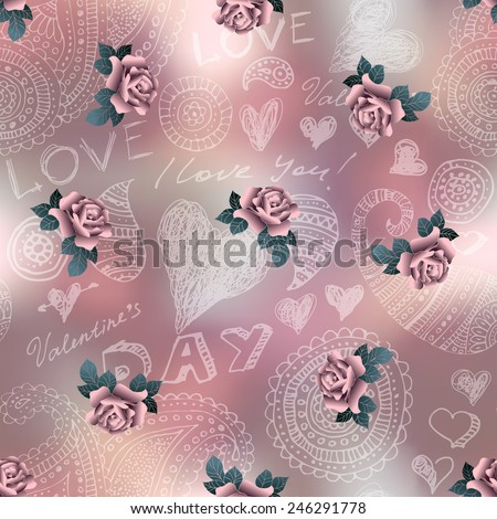 Seamless background pattern. Doodles Valentines day pattern on blur background and roses. - stock vector