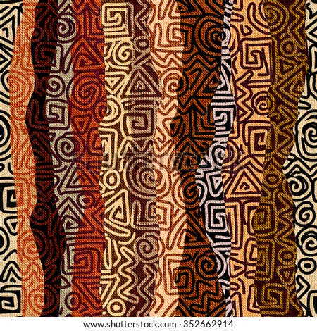 Seamless background pattern. Ethnic strikes pattern in brown colors - stock vector