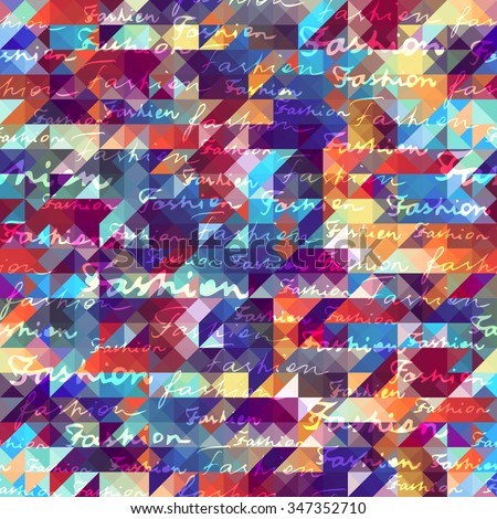 Seamless background pattern. Geometric  hounds-tooth patterns with Fashion lettering. - stock vector