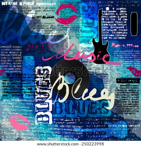 Seamless background pattern. Grunge blue newspaper with original inscriptions Blues and music and guitar silhouette. - stock vector