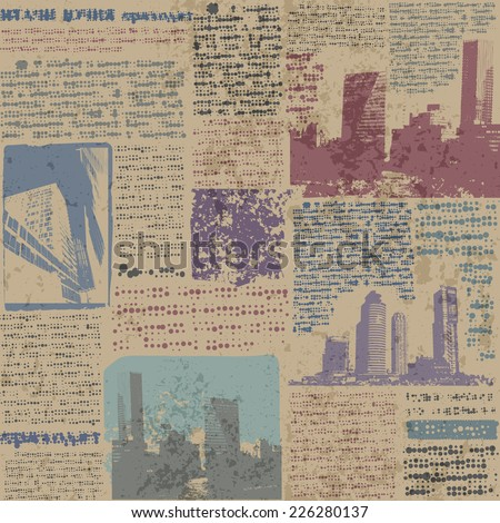 Seamless background pattern. Grunge newspaper with city image.
