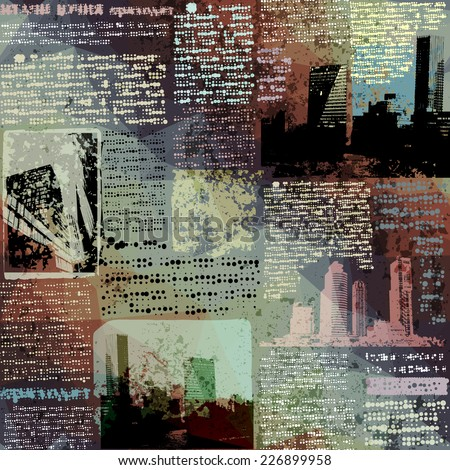 Seamless background pattern. Grunge newspaper with city image. - stock vector