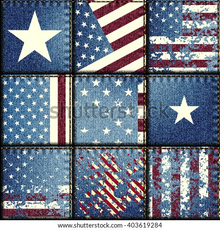 Seamless background pattern. Grunge patchwork with USA flags. - stock vector