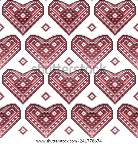 Seamless background pattern. Hearts in Ukrainian ethnic embroidery style on white background.  - stock vector